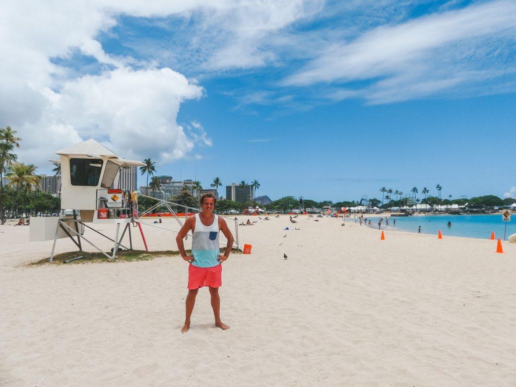 Strand Hawaii Oahu met gezin